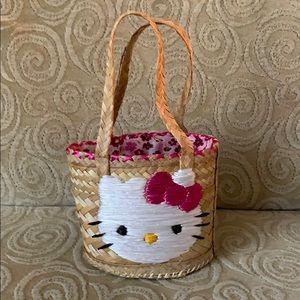 Small Straw Hello Kitty Tote